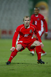 BUDAPEST, HUNGARY - Wednesday, March 31, 2004: Wales' Gareth Roberts in action on his debut against Hungary during the International Friendly match at the Ferenc Puskas Stadium. (Pic by David Rawcliffe/Propaganda)
