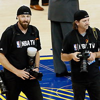 12 June 2017: NBA photographers Noah Graham and Jesse Garrabrant are seen prior to the Golden State Warriors 129-120 victory over the Cleveland Cavaliers, in game 5 of the 2017 NBA Finals, at the Oracle Arena, Oakland, California, USA.