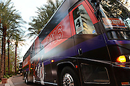 Jan 8, 2016; Scottsdale, AZ, USA; Clemson Tigers buses arrive with players at Hyatt Regency Scottsdale Resort at Gainey Ranch. Mandatory Credit: Jennifer Stewart-USA TODAY Sports