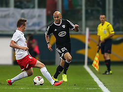 06.08.2014, Red Bull Arena, Salzburg, AUT, UEFA CL Qualifikation, FC Red Bull Salzburg vs Qarabag FK, dritte Runde, Rueckspiel, im Bild Peter Svarrer Ankersen, (FC Red Bull Salzburg, #4) und Richard Almeida, (Qarabag FK, #20) //during UEFA Champions League Qualifier second leg 3rd round match between FC Red Bull Salzburg vs Qarabag FK at the Red Bull Arena in Salzburg, Austria on 2014/08/06. EXPA Pictures © 2014, PhotoCredit: EXPA/ Roland Hackl