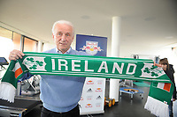 Photo: Sportsfile/Richard Lane Photography.  <br /> Giovanni Trapattoni holds an Irish scarf in his office after a press conference at the Red Bull Salzburg training grounds. Trapattoni revealed at the news conference that the FAI had offered him a two year contract as the Republic of Ireland manager. Red Bull Salzburg Training Grounds, Salzburg, Austria. 13/02/2008.