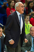 DALLAS, TX - FEBRUARY 19: SMU Mustangs head coach Larry Brown has words for his team against the Temple Owls on February 19, 2015 at Moody Coliseum in Dallas, Texas.  (Photo by Cooper Neill/Getty Images) *** Local Caption *** Larry Brown