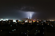 BEIJING, CHINA - (CHINA OUT) <br /> <br /> Lightning Illuminates China's Cities<br /> <br /> Lightning is seen above buildings in Beijing, China. <br /> ©Exclusivepix