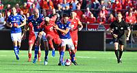 Fotball Menn Eliteserien Ranheim-Brann<br /> Extra Arena, Ranheim<br /> 4 august 2019<br /> <br /> Brann's Bamba (midten) i duell med Ranheims Eirik Valla Dønnem (H) og Magnus Blakstad (V)<br /> <br /> <br /> Foto : Arve Johnsen, Digitalsport