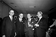 05/05/1965<br /> 05/05/1965<br /> 05 May 1965<br /> Ballsbridge Motors Ltd. reception at the Intercontinental Hotel Dublin. Picture shows Bob McMahon; A.E. McMahon both of Millford chatting with Stephen O'Flaherty Chairman, Motor Manufacturers Ltd., Dublin and Frank Wyse, Central Garage, Cork.