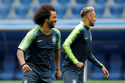 June 21, 2018 - Saint Petersburg, Russia - Marcelo (L) and Neymar during a Brazil national team training session during the FIFA World Cup 2018 on June 21, 2018 at Saint Petersburg Stadium in Saint Petersburg, Russia. (Credit Image: © Mike Kireev/NurPhoto via ZUMA Press)