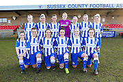 The Brighton Team after the FA Women's Sussex Challenge Cup semi-final match between Brighton Ladies and Hassocks Ladies FC at Culver Road, Lancing, United Kingdom on 15 February 2015. Photo by Geoff Penn.