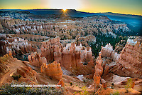 FIRST MAGICAL LIGHT ON THE HOODOOS, BRYCE. VIEW FROM SUNSET POINT AREA.