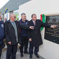 An tUachtaran Cumann Luthchleas Gael, Mr. Liam O'Neill, with Gerard Morrissey, John Joe Ryan, President of Kilmurry Ibreckane GAA Club, and John Brew, Vice Chairman of Kilmurry Ibreckane GAA Club, opening the Garden of Remembrance during the  Club Centenary Closing Ceremony