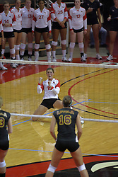 31 Aug 2010: Kristin Stauter pumps with elation after going to the floor for a save. The Illinois State Redbirds trumped the Rambles of Loyola-Chicago 3 sets to none at Redbird Arena on the campus of Illinois State University in Normal Illinois.