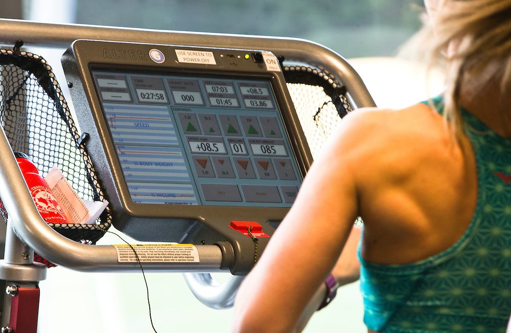 Kendra Pomfret trains at the PISE Pacific Institute for Sport Excellence on December 3rd, 2015 in Victoria, British Columbia Canada.<br /> <br /> Kendra Pomfret trains on an anti gravity treadmill called ultra G which lifts the body weight off the athlete so there is not as much pounding on the joints and muscles. Good for recovery and coming back from injury like stress fractures, tendons or knees.