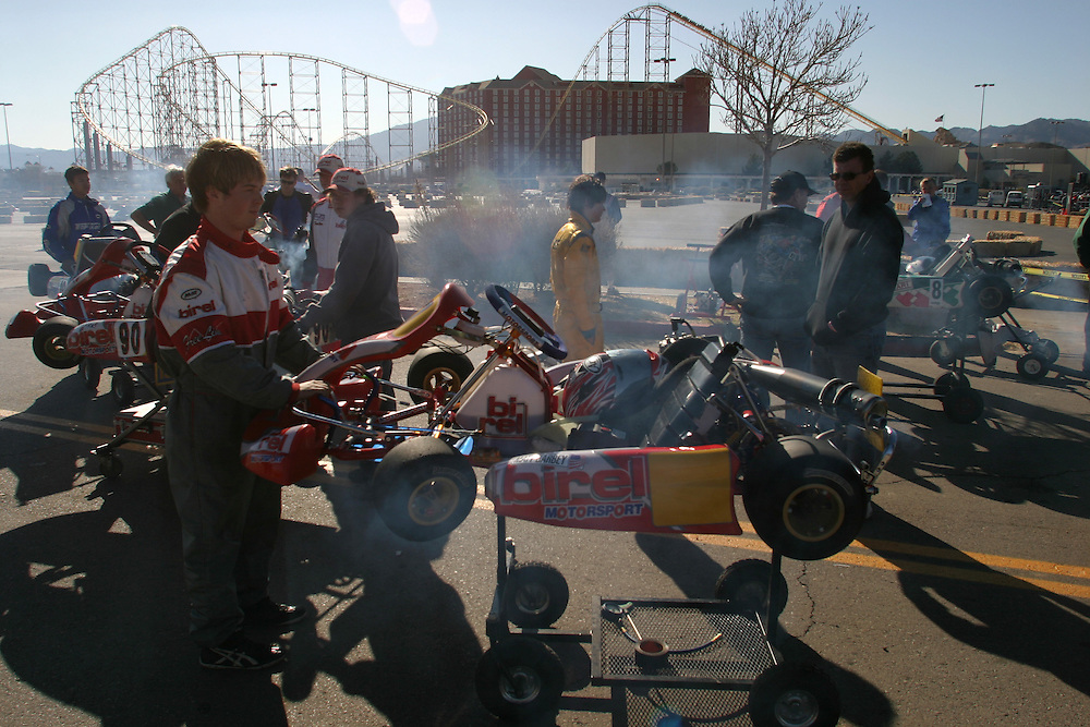 Smoke going out of the go karts before the start of the race in Primm Nevada Saturday march 3 .2007