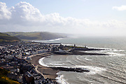 ABERYSTWYTH, WALES, UK 18TH AUGUST 2019 - View over Aberystwyth town and Ceredigion coastline from top of Constitution Hill, Mid Wales, Britain.