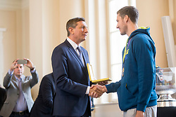 "President of Slovenia, Borut Pahor and Goran Dragic during award ceremony ""Zlati red za zasluge"" for Basketball association of Slovenia on the day of statehood in the presidential palace, on June 25, 2018 in Ljubljana, Slovenia. Photo by Urban Urbanc / Sportida"