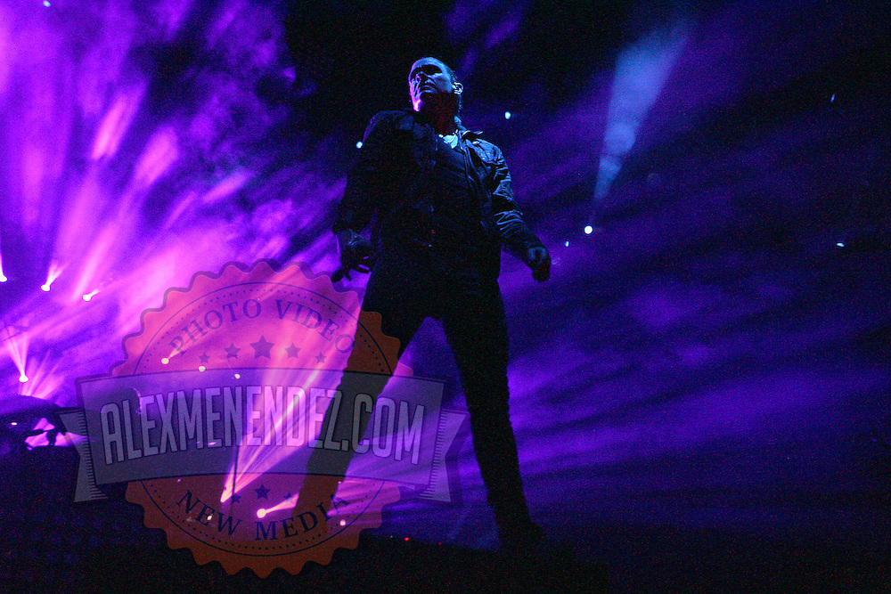 Brent Smith of the band Shinedown poses onstage at the Rockstar Energy Drink Festival at the 1-800-Ask-Gary amphitheater in Tampa, Florida on Thursday, September 13, 2012. (AP Photo/Alex Menendez)