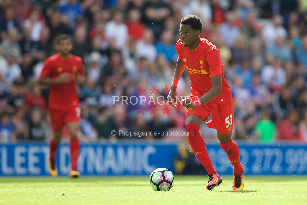 WIGAN, ENGLAND - Sunday, July 17, 2016: Liverpool's Oviemuno Ejaria in action against Wigan Athletic during a pre-season friendly match at the DW Stadium. (Pic by David Rawcliffe/Propaganda)