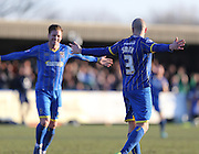 Wimbledon defender JACK SMITH scores the winning goal to make it 2-1 during the Sky Bet League 2 match between AFC Wimbledon and York City at the Cherry Red Records Stadium, Kingston, England on 7 March 2015.