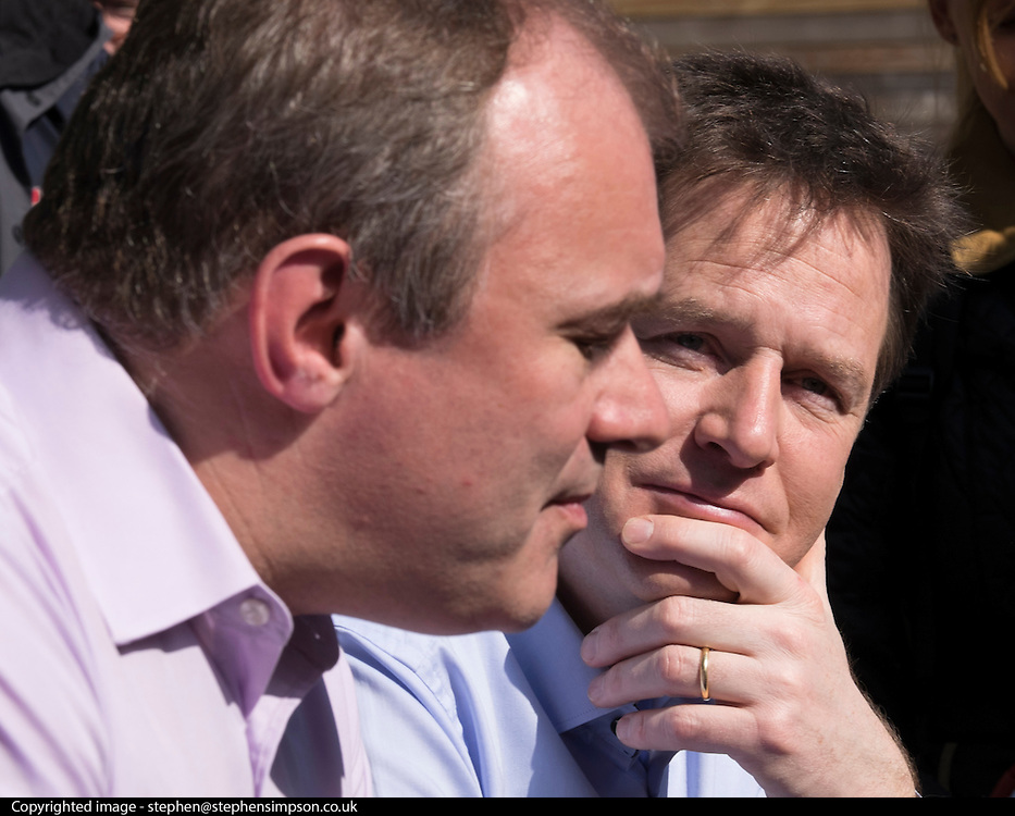 © Licensed to London News Pictures. 06/04/2015. Surbiton, UK. ED DAVEY and NICK CLEGG.  Liberal Democrat Leader and Deputy Prime Minister NICK CLEGG and climate secretary ED DAVEY campaigning for votes in the general election in Ed Davy's constituency of Surbiton today 6th April 2015. Photo credit : Stephen Simpson/LNP