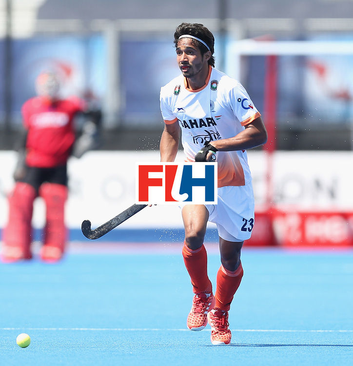 LONDON, ENGLAND - JUNE 15: Pardeep Mor of India  during the Hero Hockey World League Semi Final match between India and Scotland at Lee Valley Hockey and Tennis Centre on June 15, 2017 in London, England.  (Photo by Alex Morton/Getty Images)