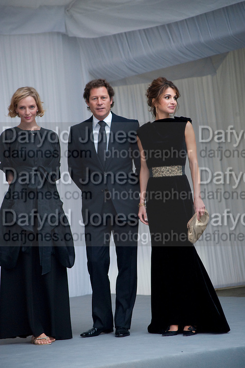 UMA THURMAN; ARKI BUSSON; QUEEN RANIA OF JORDAN, Ark- Absolute Return for Kids. Fundraiser at Waterloo Euroster terminal. London. 13 May 2010. -DO NOT ARCHIVE-© Copyright Photograph by Dafydd Jones. 248 Clapham Rd. London SW9 0PZ. Tel 0207 820 0771. www.dafjones.com.