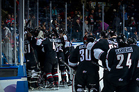KELOWNA, CANADA - MARCH 7:  The Vancouver Giants celebrate the overtime win against the Kelowna Rockets on March 7, 2018 at Prospera Place in Kelowna, British Columbia, Canada.  (Photo by Marissa Baecker/Shoot the Breeze)  *** Local Caption ***