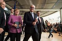 16 NOV 2016, BERLIN/GERMANY:<br /> Angela Merkel, CDU, Bundeskanzlerin, Frank-Walter Steinmeier, SPD, Bundesaussenminister, Sigmar Gabriel, SPD, Bundeswirtschaftsminister, (v.L.n.R.), nach einem Statement zur Vorstellung des gemeinsamen Kandidaten der Koalitionsparteien, Steinmeier, fuer das Amt des Bundespraesidenten, Fraktionsebene, Deutscher Bundestag<br /> IMAGE: 20161116-01-050<br /> KEYWORDS: Bundespräsident