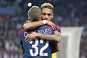 NEYMAR DA SILVA SANTOS JUNIOR - NEYMAR JR (PSG) celebrated the goal scored by Daniel Alves da Silva (PSG) during the UEFA Champions League, Group B football match between Paris Saint-Germain and Bayern Munich on September 27, 2017 at Parc des Princes stadium in Paris, France - Photo Stephane Allaman / ProSportsImages / DPPI