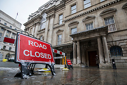 © Licensed to London News Pictures. 02/03/2018. London, UK. A 'ROAD CLOSED' sign outside The Mansion House where Prime Minister Theresa May is giving her 'Road to Brexit' speech. Photo credit: Rob Pinney/LNP