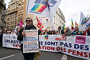 "France, Paris, 15 March 2018. Protest  march by retired . French Government has decided to increase ""Supplementary Social Security Contribution"" (Contribution Sociale Généralisée) since January 1st of this year, which reduced their retirement pensions."