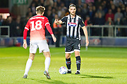 Grimsby Town defender Luke Waterfall challenged by Salford City midfielder Danny Whitehead during the EFL Sky Bet League 2 match between Salford City and Grimsby Town FC at Moor Lane, Salford, United Kingdom on 17 September 2019.