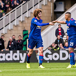 Goalscorer Marouane Fellaini of Manchester United celebrates with Antonio Valencia of Manchester United. Middlesborough v Manchester United, Barclays English Premier League, 19th March 2017. (c) Paul Cram | SportPix