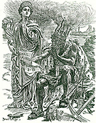King Coal and Commerce discussing the consequences of the 8 Hours Bill restricting hours of work if it passed through Parliament.  Bernard Partridge cartoon from 'Punch', 18 March 1908.