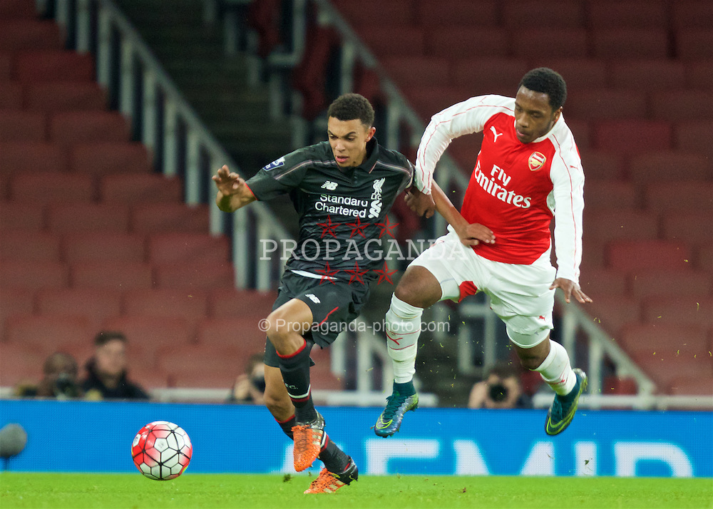 LONDON, ENGLAND - Friday, March 4, 2016: Liverpool's Trent Alexander-Arnold (L) in action against Arsenal's Kaylen Hinds (R) during the FA Youth Cup 6th Round match at the Emirates Stadium. (Pic by Paul Marriott/Propaganda)