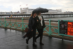 © Licensed to London News Pictures. 11/10/2014. Brighton, UK. heavy rain and wind are hitting much of Brighton throughout the day. Temperatures are expected to reach 14C in Brighton and the South coast. Photo credit : Hugo Michiels/LNP