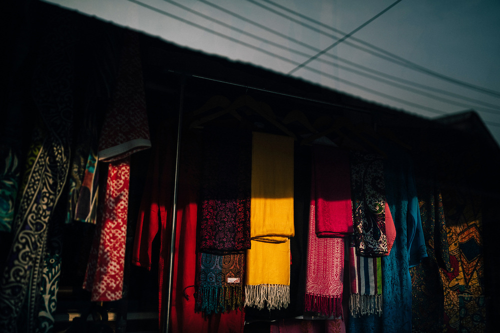 Fort Kochi, India -- February 12, 2018: Reflections of shalls for sale in Fort Kochi.