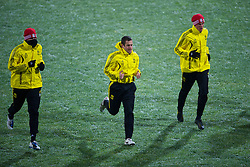 BUCHAREST, ROMANIA - Wednesday, December 1, 2010: Liverpool's Joe Cole and Martin Kelly during training at the Stadionul Steaua ahead of the UEFA Europa League Group K match against FC Steaua Bucuresti. (Pic by: David Rawcliffe/Propaganda)