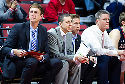 NORMAL, IL - November 06: Bruins Assistant Coaching staff Mick Hedgepeth, Sean Rutigliano, Tyler Holloway and Brian Ayers during a college basketball game between the ISU Redbirds and the Belmont Bruins on November 06 2019 at Redbird Arena in Normal, IL. (Photo by Alan Look)