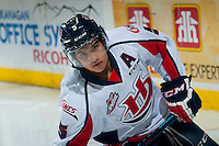 KELOWNA, CANADA - OCTOBER 11: Tyler Wong #5 of Lethbridge Hurricanes warms up against the Kelowna Rockets on October 11, 2014 at Prospera Place in Kelowna, British Columbia, Canada.   (Photo by Marissa Baecker/Shoot the Breeze)  *** Local Caption *** Tyler Wong;