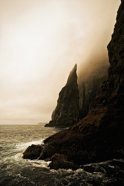 A view of the Vestmannabjørgini reefs in the Faroe Islands. This is the kind of imposing landscape the vikings encountered hundreds of years ago when they first arrived and colonized.