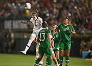 United States midfielder Rose Lavelle (16) heads the ball in an international friendly women's soccer match, Saturday, Aug. 3, 2019,  in Pasadena, Calif., The U.S. defeated Ireland 3-0. (Dylan Stewart/Image of Sport)