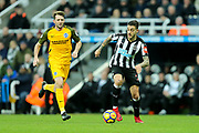 Joselu (#21) of Newcastle United drives the ball forward during the Premier League match between Newcastle United and Brighton and Hove Albion at St. James's Park, Newcastle, England on 30 December 2017. Photo by Craig Doyle.