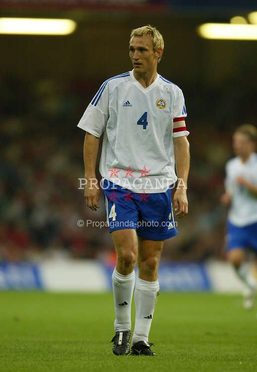 CARDIFF, WALES - Wednesday, September 10, 2003: Finland's Sami Hyypia in action during the Euro 2004 qualifying match at the Millennium Stadium.. (Photo by David Rawcliffe/Propaganda)