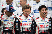 June 12-17, 2018: 24 hours of Le Mans. Mike Conway, Toyota Racing, Toyota TS050 Hybrid, Sebastien Buemi,  Toyota Racing, Toyota TS050 Hybrid,  Kamui Kobayashi,  Toyota Racing, Toyota TS050 Hybrid