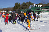 Warwick, New York - People line up for the ski lift at Mount Peter Ski and Ride on Feb. 10, 2013. ©Tom Bushey / The Image Works