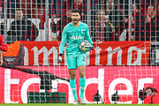 Tottenham Hotspur goalkeeper Paulo Gazzaniga (22) shouts at his defence during the Champions League match between Bayern Munich and Tottenham Hotspur at Allianz Arena, Munich, Germany on 11 December 2019.