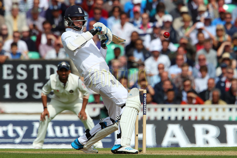 Stuart Broad of England avoids a rising delivery from Ishant Sharma of India during day three of the fifth Investec Test Match between England and India held at The Kia Oval cricket ground in London, England on the 17th August 2014<br /> <br /> Photo by Ron Gaunt / SPORTZPICS/ BCCI