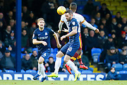 Southend's defender John White safely heads the ball down during the EFL Sky Bet League 1 match between Southend United and Bradford City at Roots Hall, Southend, England on 16 December 2017. Photo by Matt Bristow.