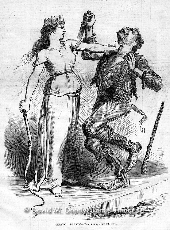 "Vintage Illustration: ""Bravo! Bravo! New York July 12, 1871"" Holding the whip of the Law in one hand Lady Liberty grasps the throat of an ape-like knife and club wielding Irishman in an anti mob violence cover of Harper's Weekly July 1871. A response to Irish Orange vs  Irish Catholic violence in New York City. Illustration probably done by Nast (unsigned, but in his distinct style.)"