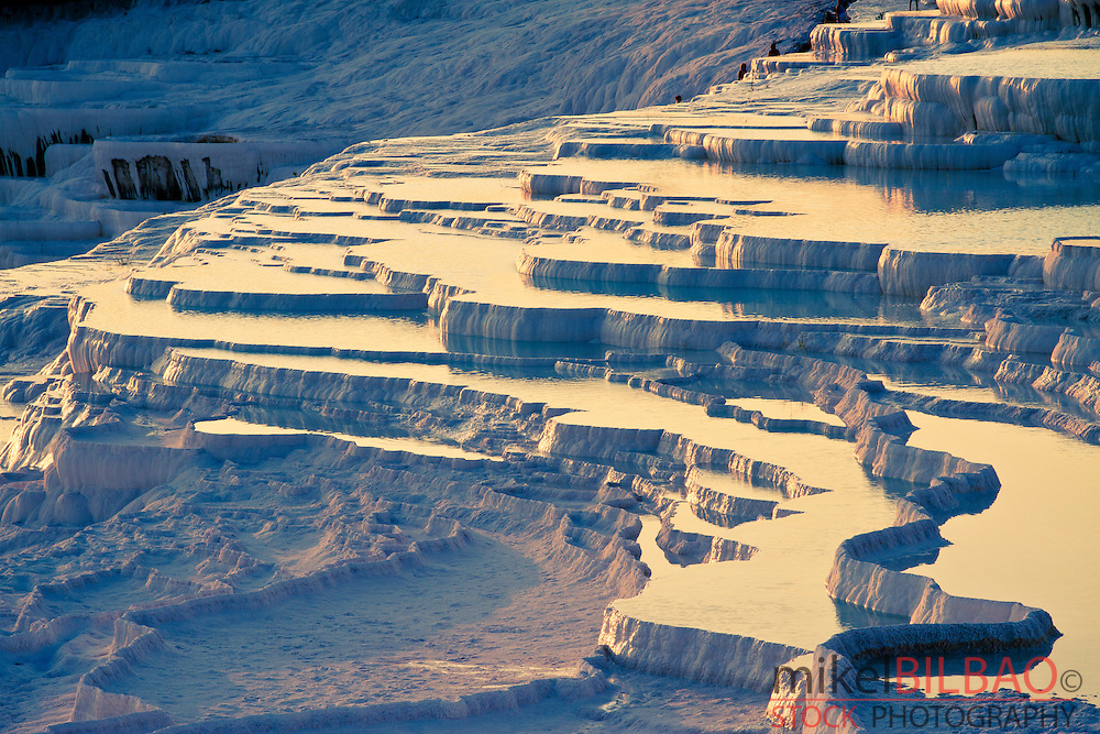Travertine terrace formations. Pamukkale. <br /> Denizli province. Anatolia. Turkey.
