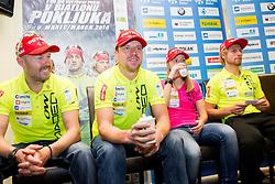Uros Velepec, Janez Maric, Anja Erzen and Klemen Bauer at press conference during media day of Slovenian biathlon team before new season 2013/14 on November 14, 2013 in Rudno polje, Pokljuka, Slovenia. Photo by Vid Ponikvar / Sportida